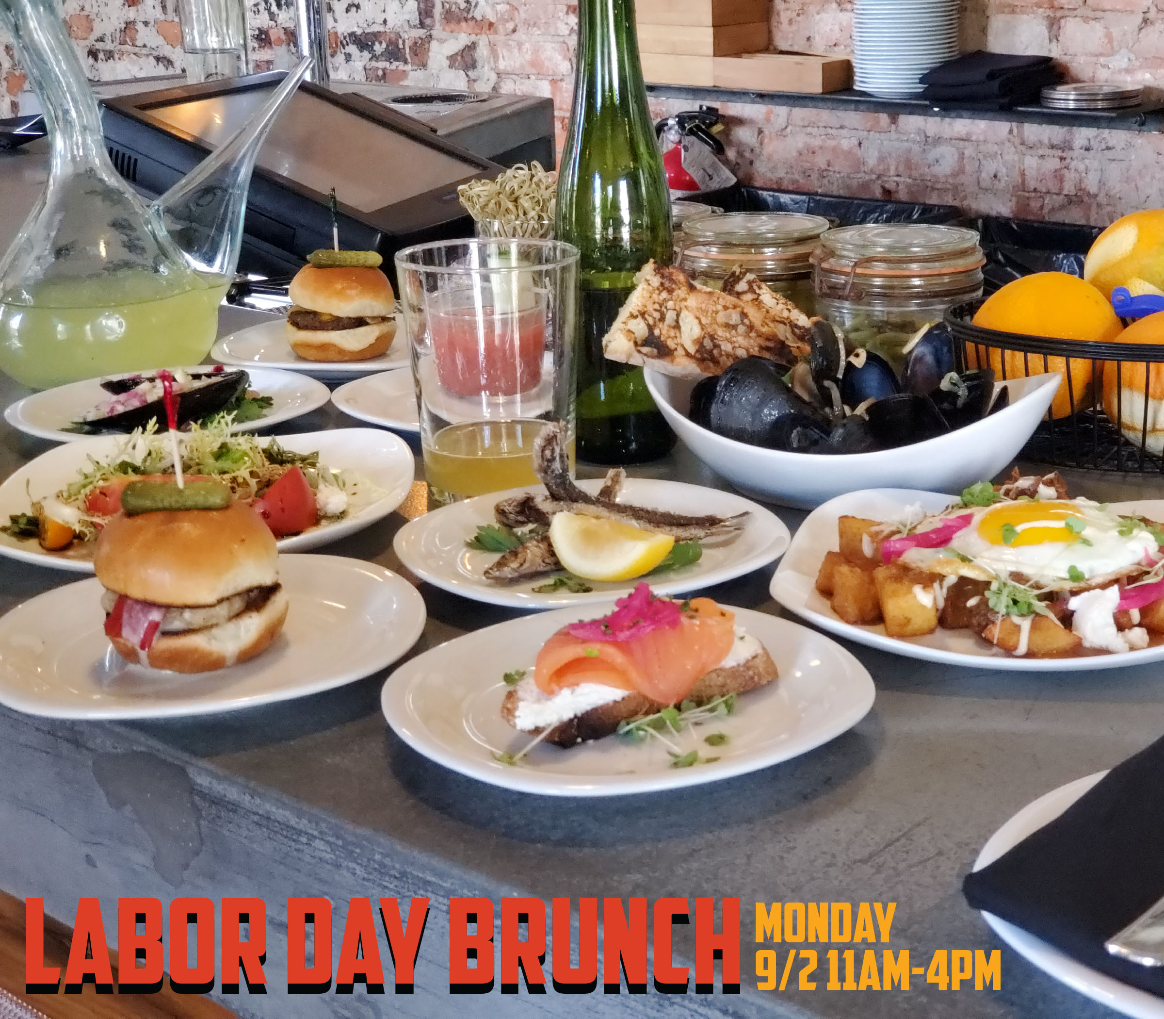 We are open for Labor Day Brunch from 11am-4pm Monday, September 2nd followed by extended Happy Hour from 4-6:30!