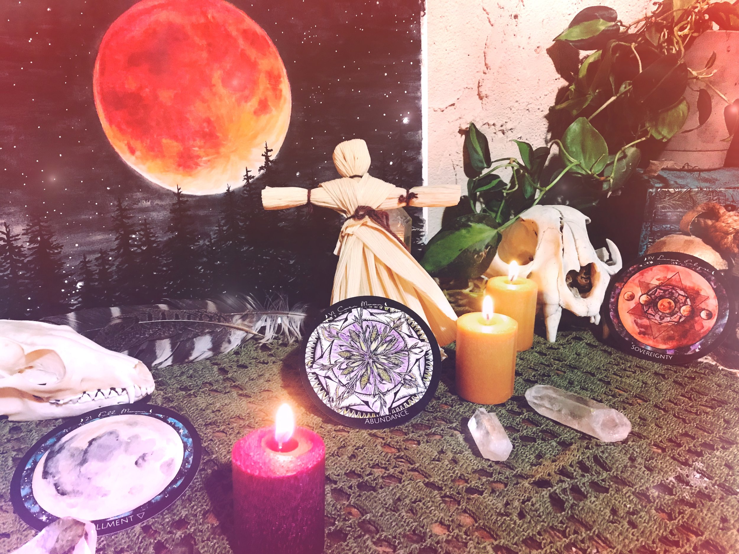 Spirit de la Lune Full Corn Moon Eclipse Corn Husk Doll Ritual