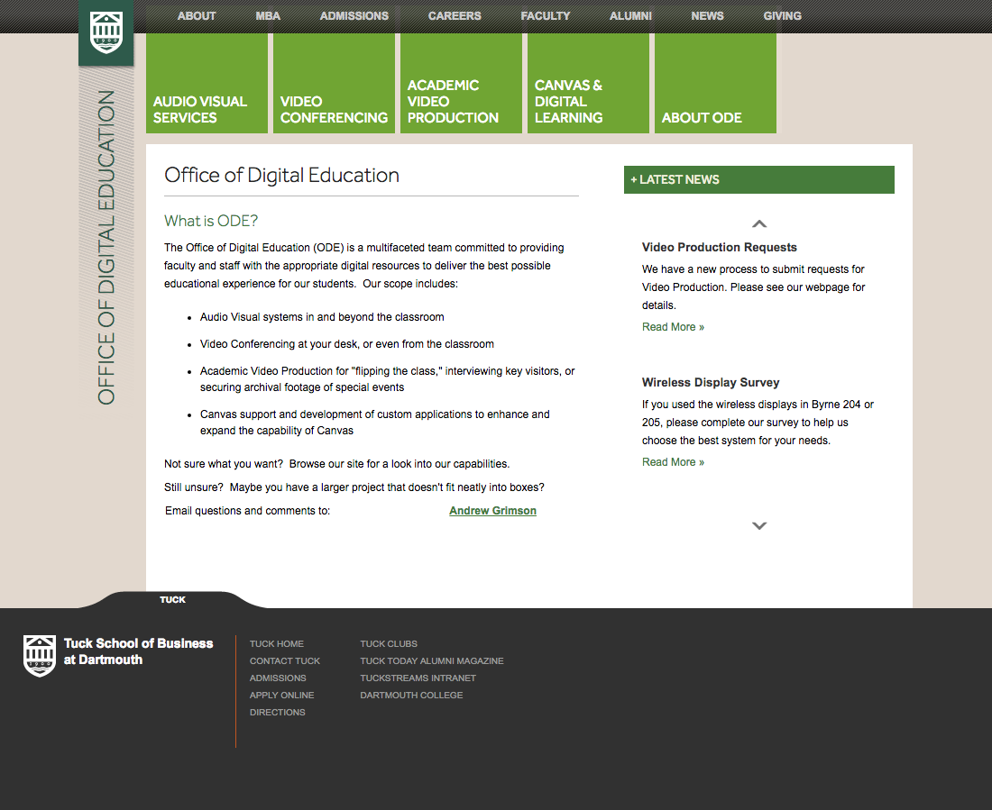 Dartmouth College, Tuck Office of Digital Education    Hanover, NH   Website content management