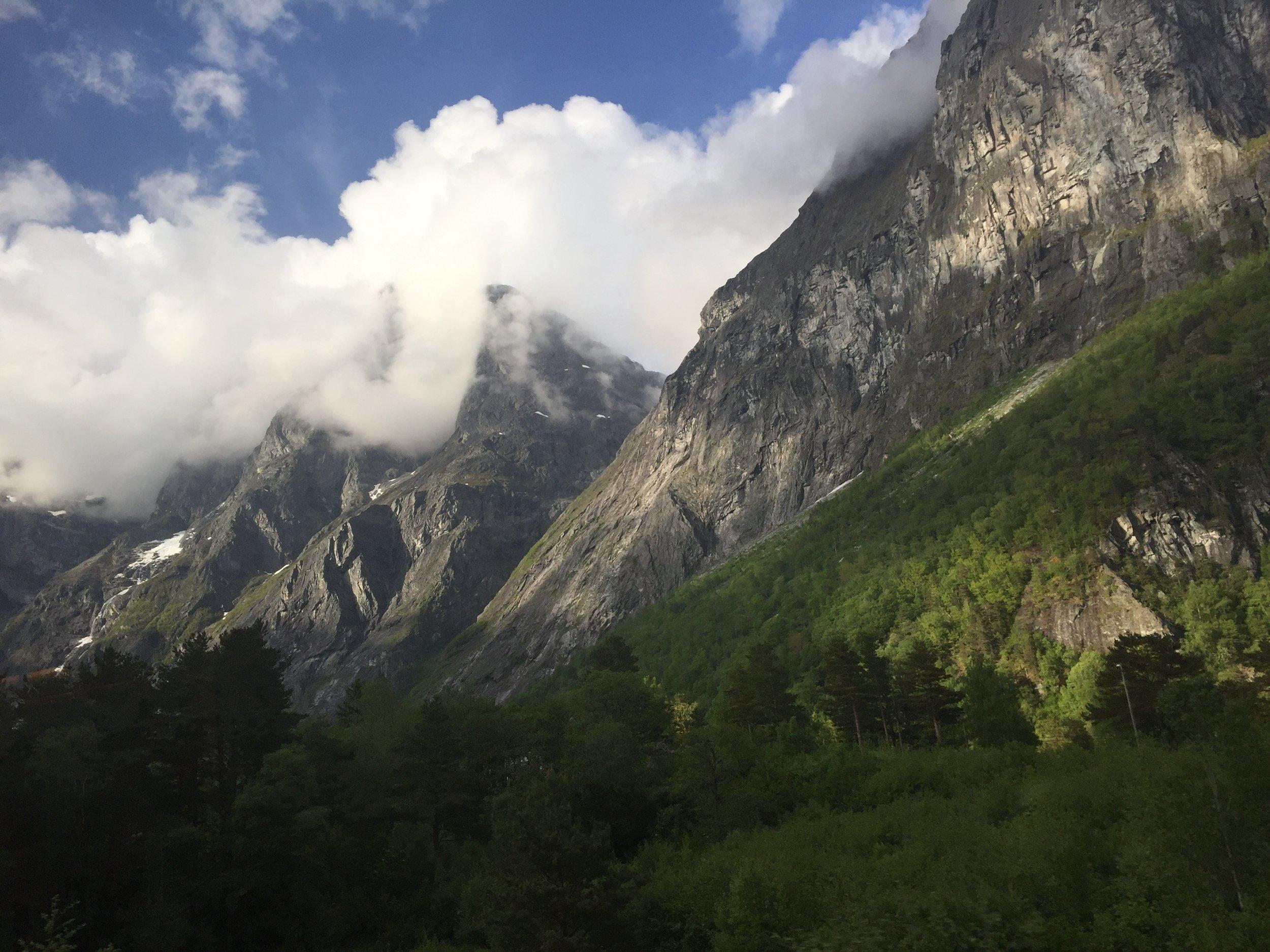 View of Rauma Valley from Rauma Railway, Norway.