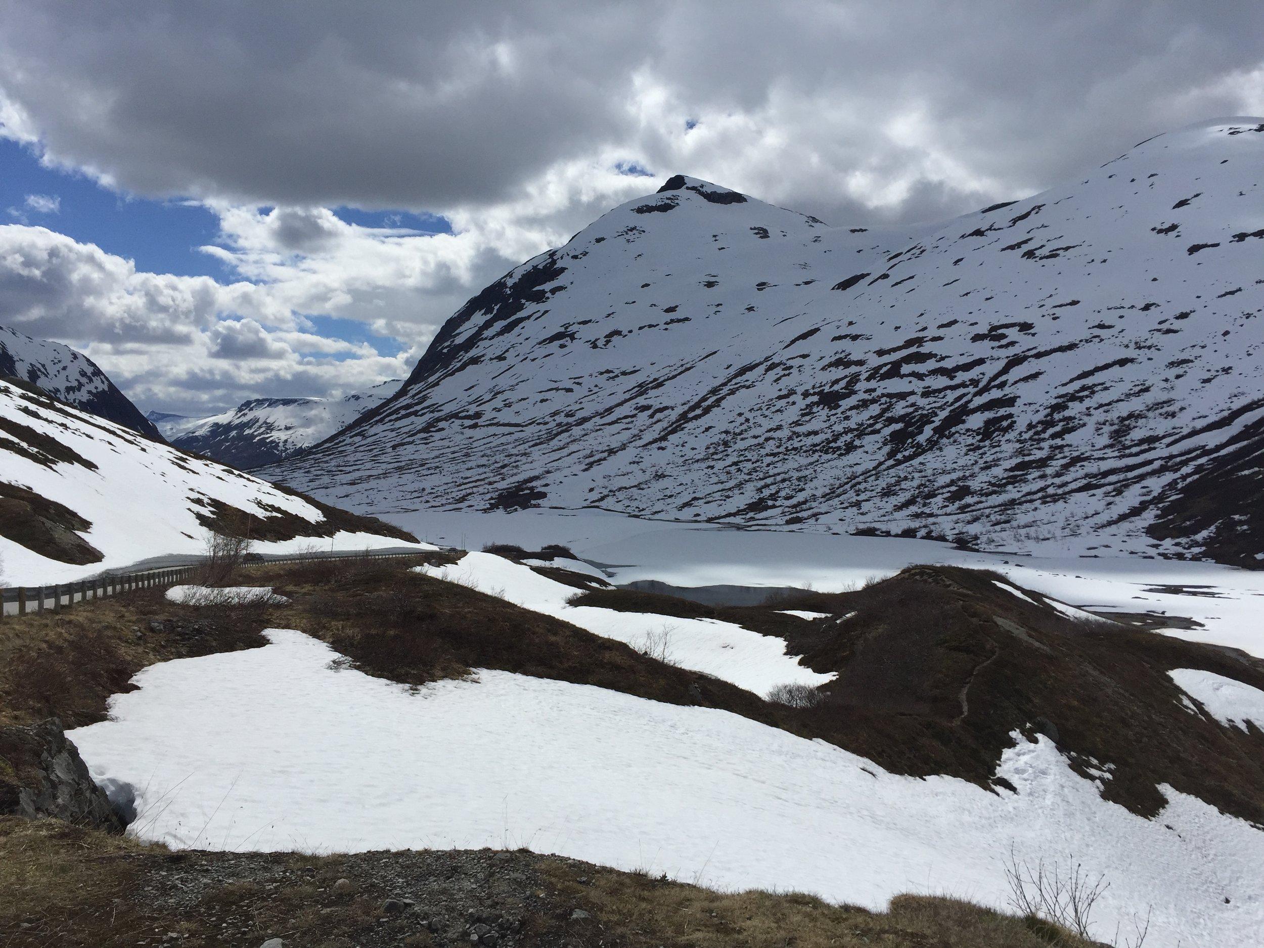 Frozen lake aside Geiranger - Trollstigen National Tourist Route.