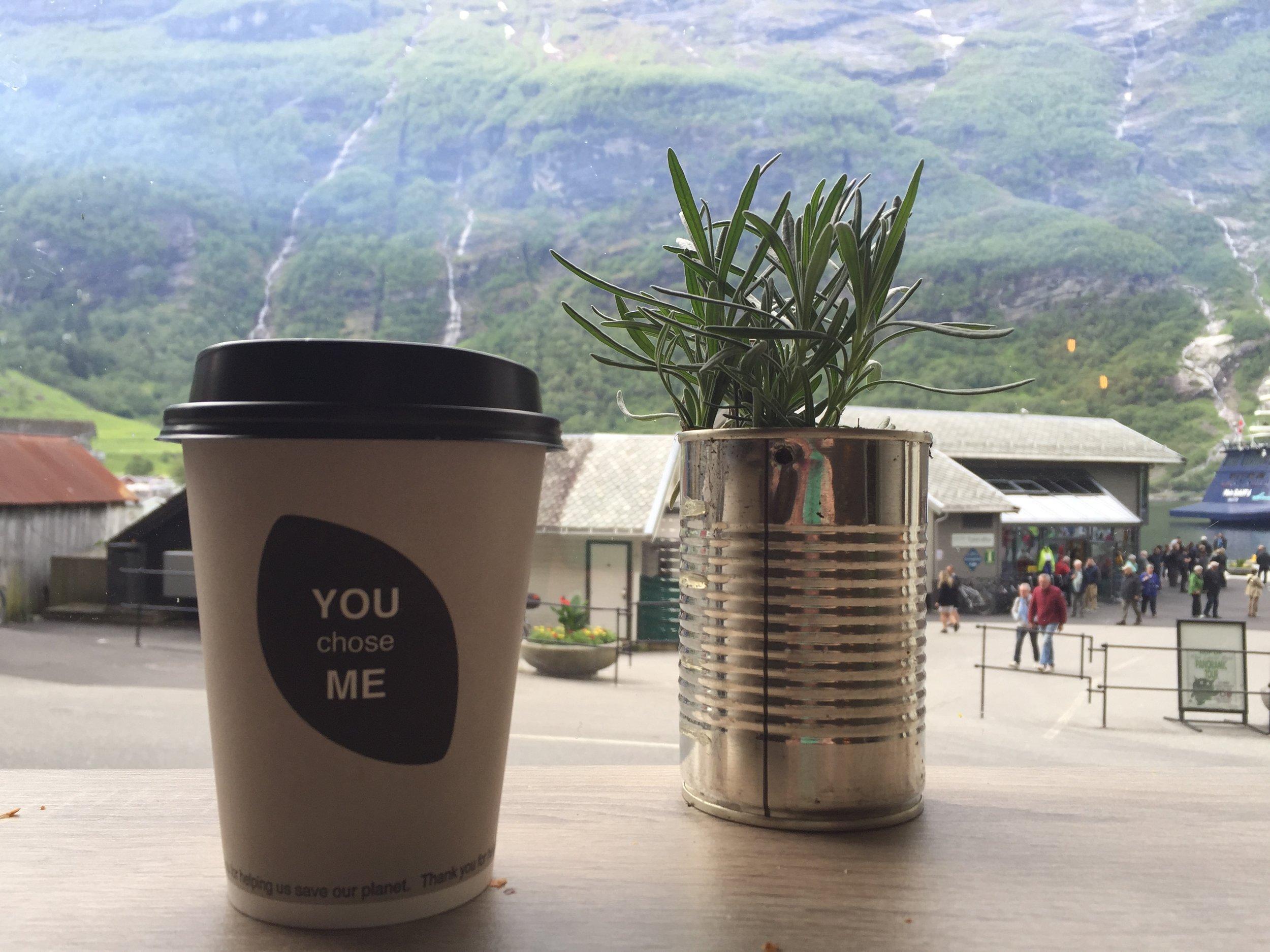 Coffee at Geiranger Bakeri, Norway.