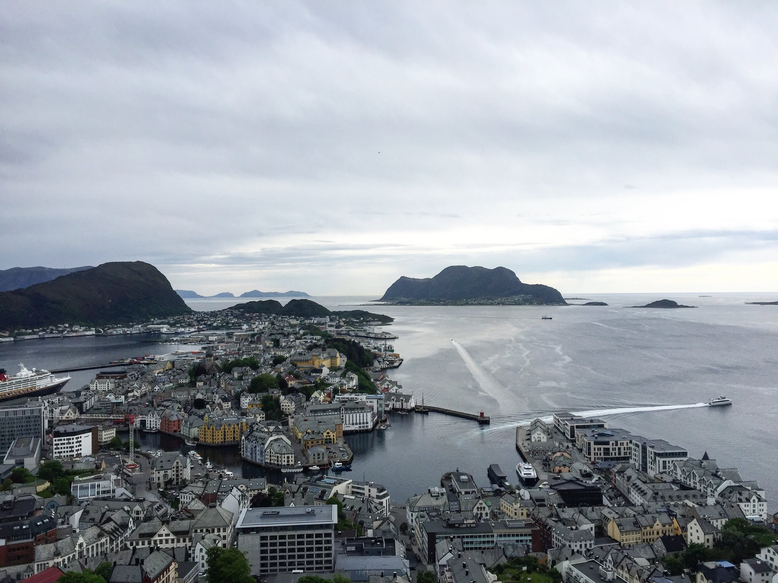 View of Ålesund city center from Aksla viewpoint, Norway.