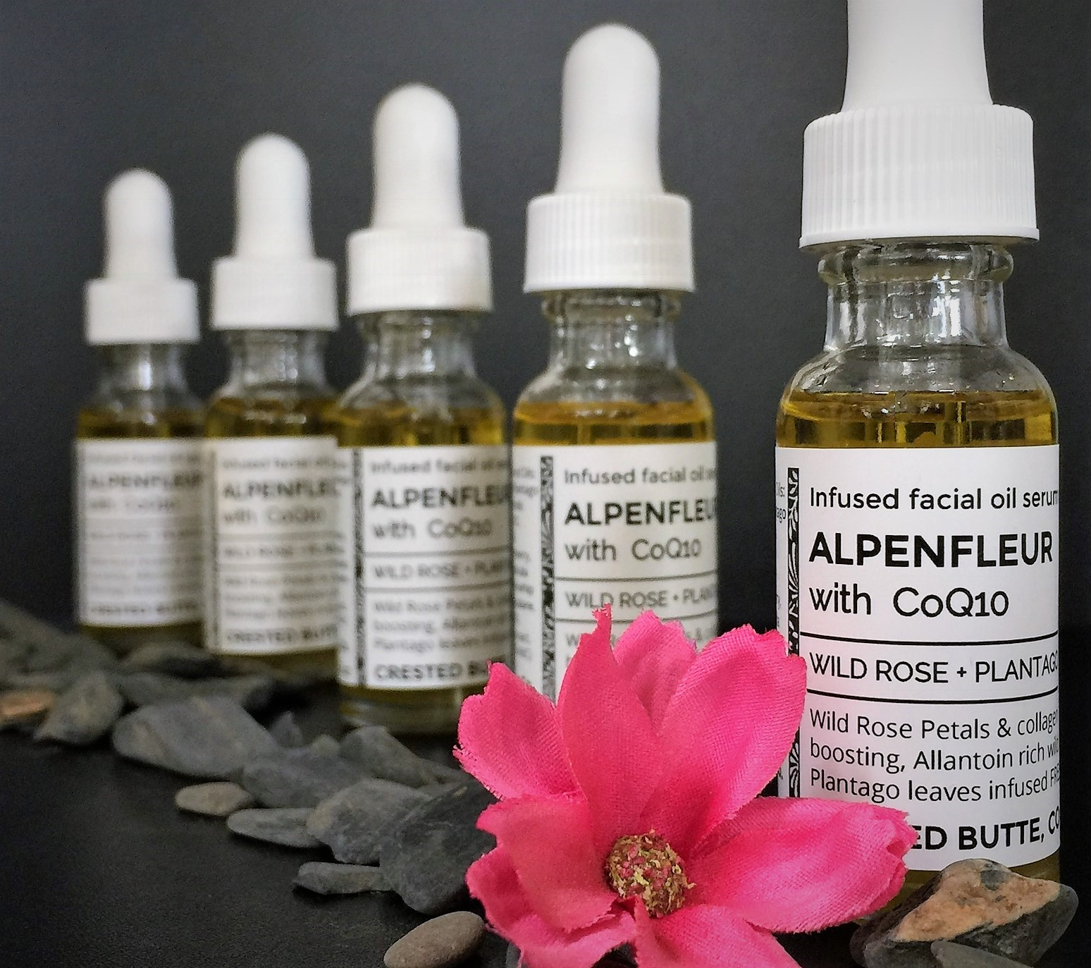 - WILD ROSE PETALS + PLANTAGO LEAF INFUSED FACIAL OIL BLEND with COQ10, Frankensence, Helicrysum, Neroli