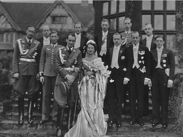 The marriage of Grand Duchess Kira Kirillovna of Russia to HRH Prince Louis-Ferdinand of Prussia in 1938.  To her right is her brother, Grand Duke Wladimir, and her cousins, Grand Duke Dmitri Pavlovich and Prince Vsevolod Ioannovich of Russia.