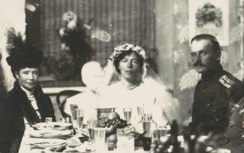 The wedding of Grand Duchess Olga Alexandrovna to Col. Kulikovsky, Kiev, 1916.
