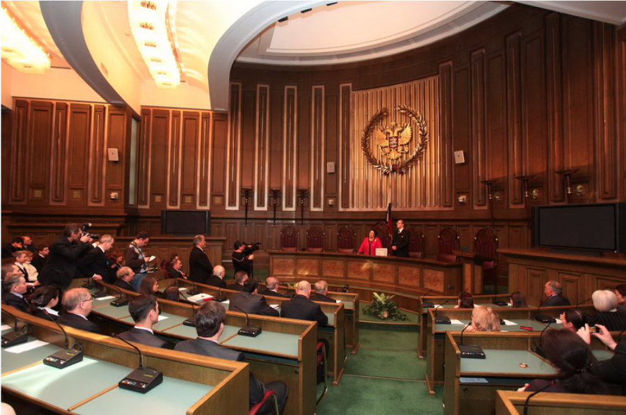 The Grand Duchess Maria Wladimirovna of Russia addresses the Chamber of Deputies of the Supreme Court of the Russian Federation, Moscow, 2013.