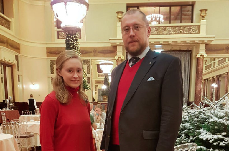 Rachel Bailes with Alexander N. Zakatov, Head of the Chancellery of the Russian Imperial House.