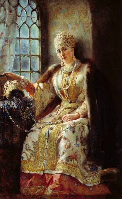 A fantasy portrait of Anastasia Romanova by Makovsky.,