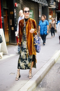 Velvet duster: paired with a slip dress and strappy sandals