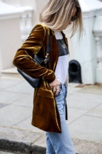 Velvet blazer: paired with a graphic tee, and denim