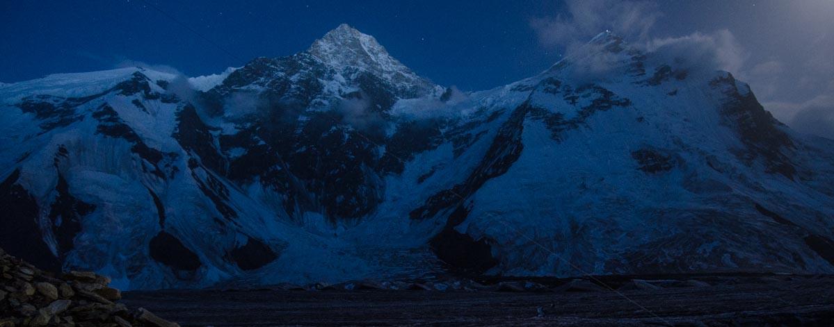 A night shot of Khan Tengri and Peak Chapayev.
