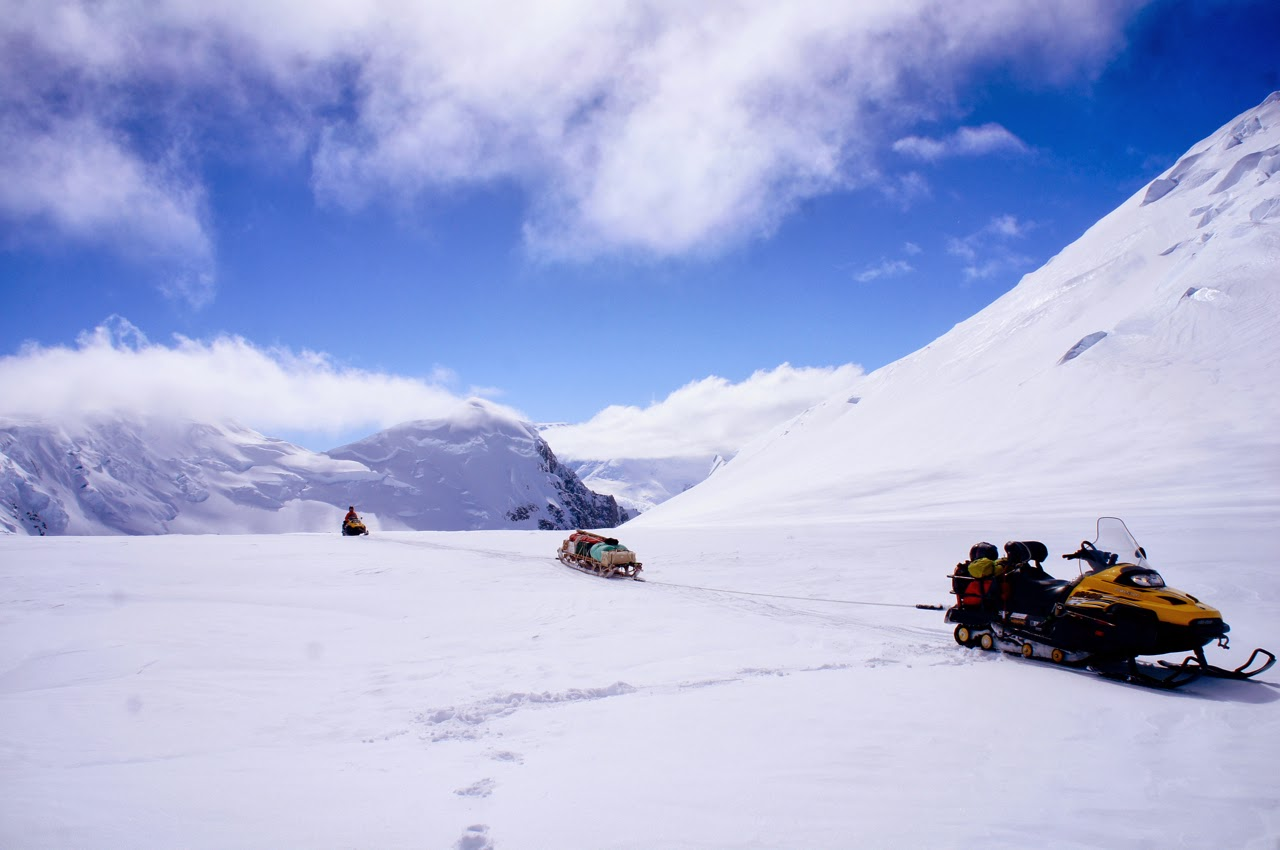 Linked skidoo travel training on Adelaide Island with Kenrick Turner, the Rothera wintering Doctor.