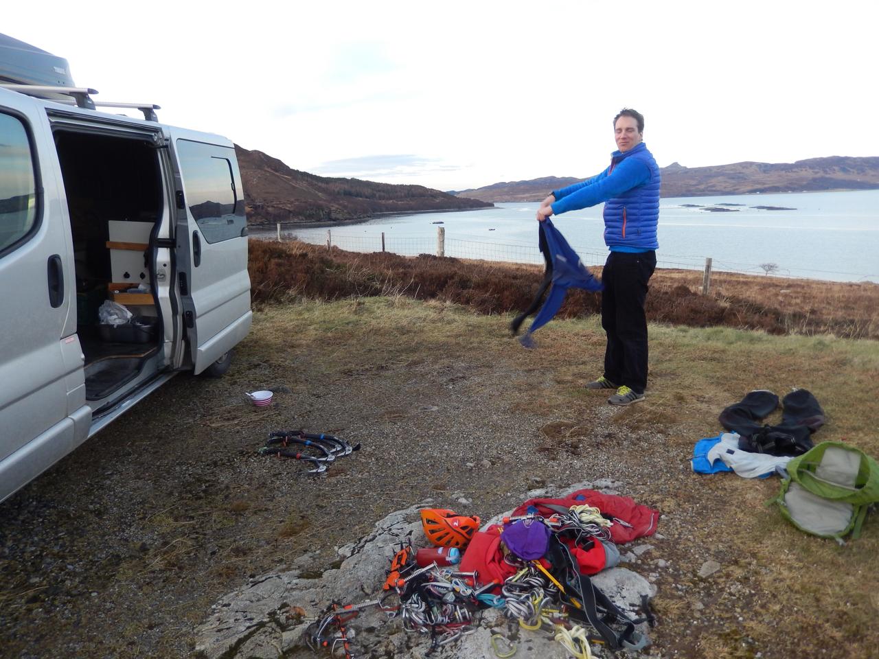 Sorting kit back at the van