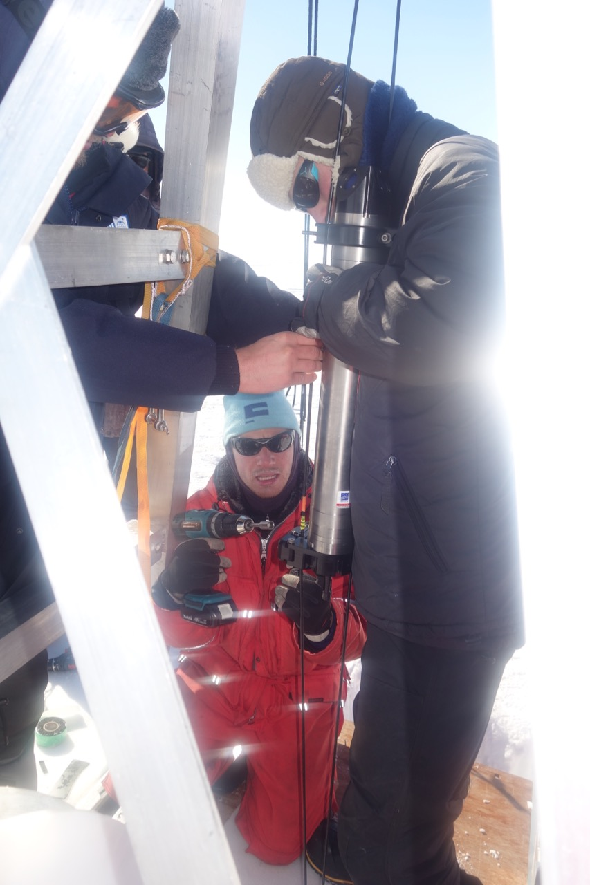 Oceanographic instruments being attached to mooring cable