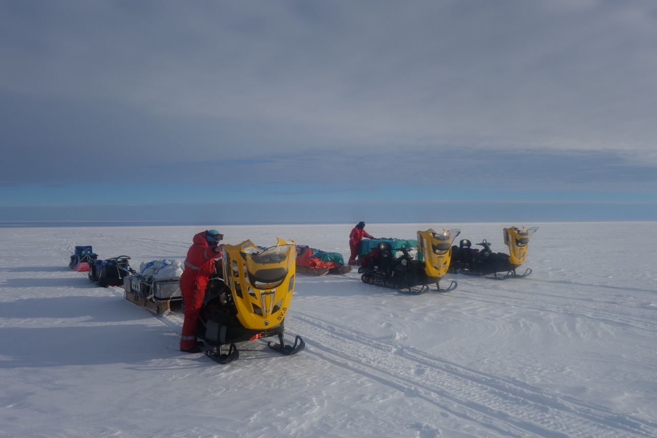 Skidoos during camp move