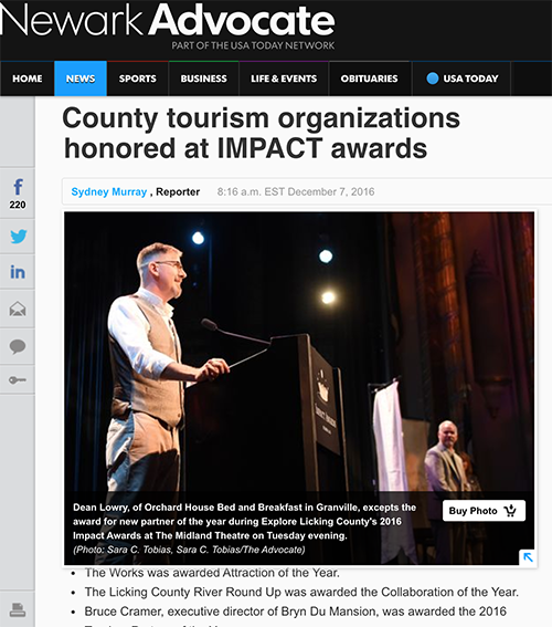 NEWARK OHIO - Explore Licking County honored multiple people and community organizations Tuesday at its annual IMPACT awards.  Seven awards were given out to people and organizations who contribute to the tourism industry in Licking County.  Explore Licking County Director of Sales and Marketing Carol Thress said the IMPACT awards were created to celebrate tourism and hospitality. She said organizers received a record number of nominations this year.    Orchard House Bed and Breakfast was awarded the New Partner of the Year Award.  The Broadway Pub was awarded the Food and Beverage Partner of the Year.  The Buxton Inn was awarded Lodging Partner of the Year.  The Canal Market District dedication was awarded the Event of the Year.  The Works was awarded Attraction of the Year.  The Licking County River Round Up was awarded the Collaboration of the Year.  Bruce Cramer, executive director of Bryn Du Mansion, was awarded the 2016 Tourism Partner of the Year.