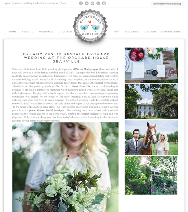 This sweet little treat from Ohio wedding photographer    DiBlasio Photography    showcases what I hope will become a much desired wedding trend of 2017! On paper this bed & breakfast wedding reads like an easy breezy casual affair. It is however, the gorgeous sophisticated styling that sets this orchard wedding apart! Prime for 2017 wedding trends stardom, its the combination of a casual atmosphere met with refined elevated wedding decor details that creates the perfect environment. Nestled in on the garden grounds of    The Orchard House Granville   , the orchard wedding is brought to life with a mixture of reclaimed wood furniture paired with stately floral china and etched glassware. Keeping with a fresh organic feel that echoes their surroundings, a sprawling centerpiece was crafted for the length of the table featuring a main focal arrangement while utilizing leafy vines and ferns to creep outward. No orchard wedding would be complete without some of its local fare utilized as accents, as such, plums and apples dance throughout the tablescape. In the spirit of the modern boho bride, the team selected an art deco inspired lace body hugging gown from    La Jeune Mariee Bridal Boutique   . The wedding dress was paired with a jeweled headpiece, the refined answer to the floral crown, creating the perfect marriage of wild and free elegance. If there is one thing you take from today's dreamy orchard wedding its the beauty in location, always paired with elegance & style.