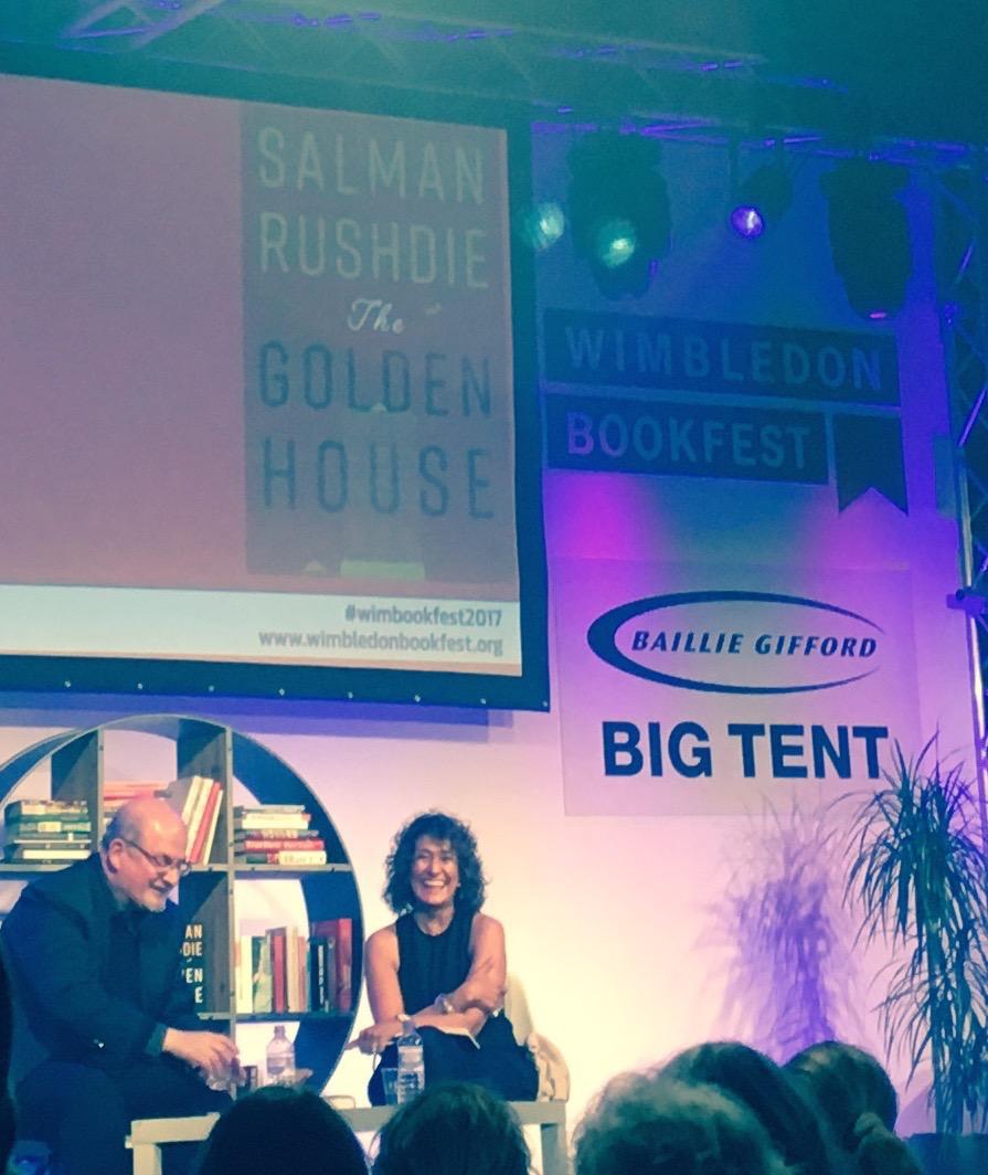 Salman Rushdie and Razia Iqbar in conversation at Wimbledon Book Fest 2017