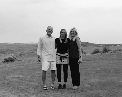 Steve Sears, Board Member (Left), Brenna Schafter, 2017 Recipient (Center) and Melissa Bellomo, Board Member (Right) at Ballyneal.