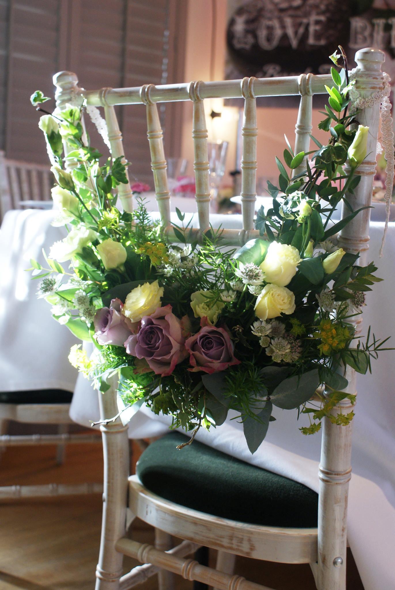 Bride chair flower decoration