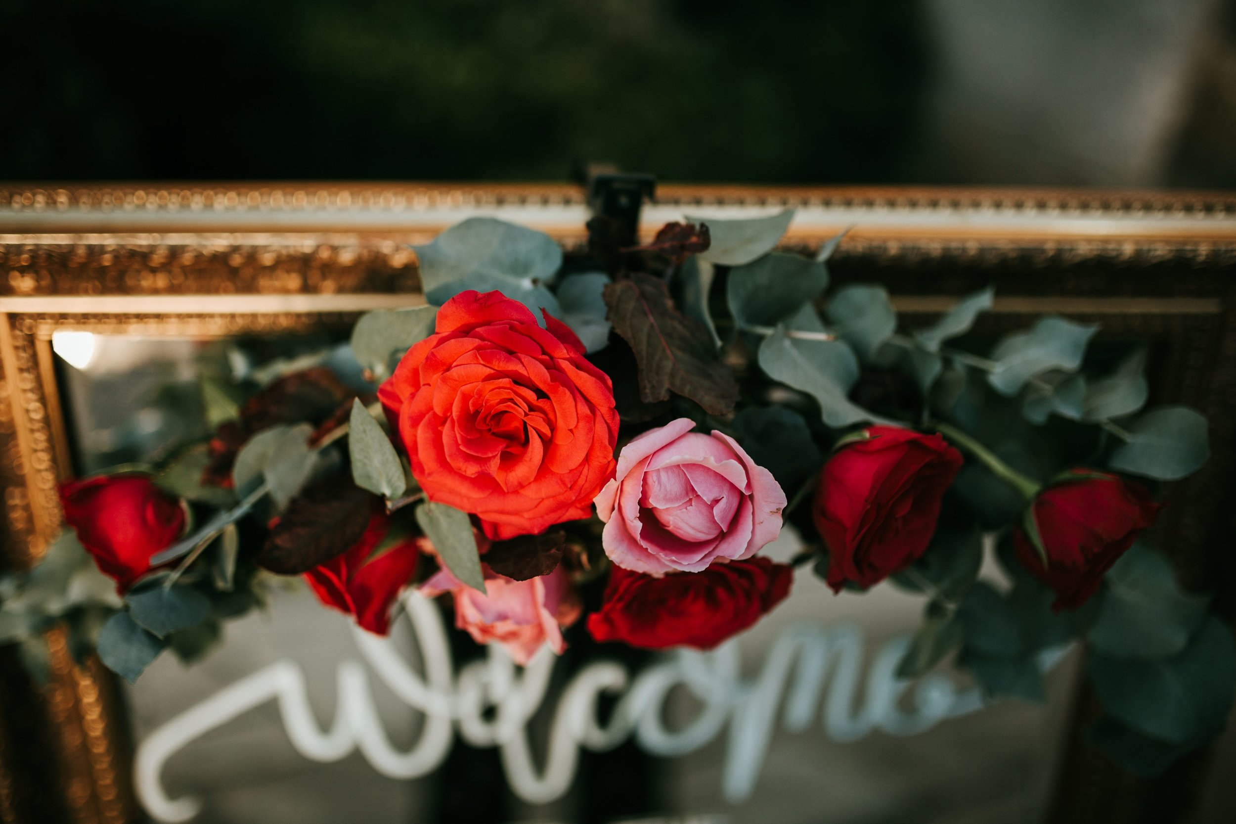 Welcome wedding sign on mirror