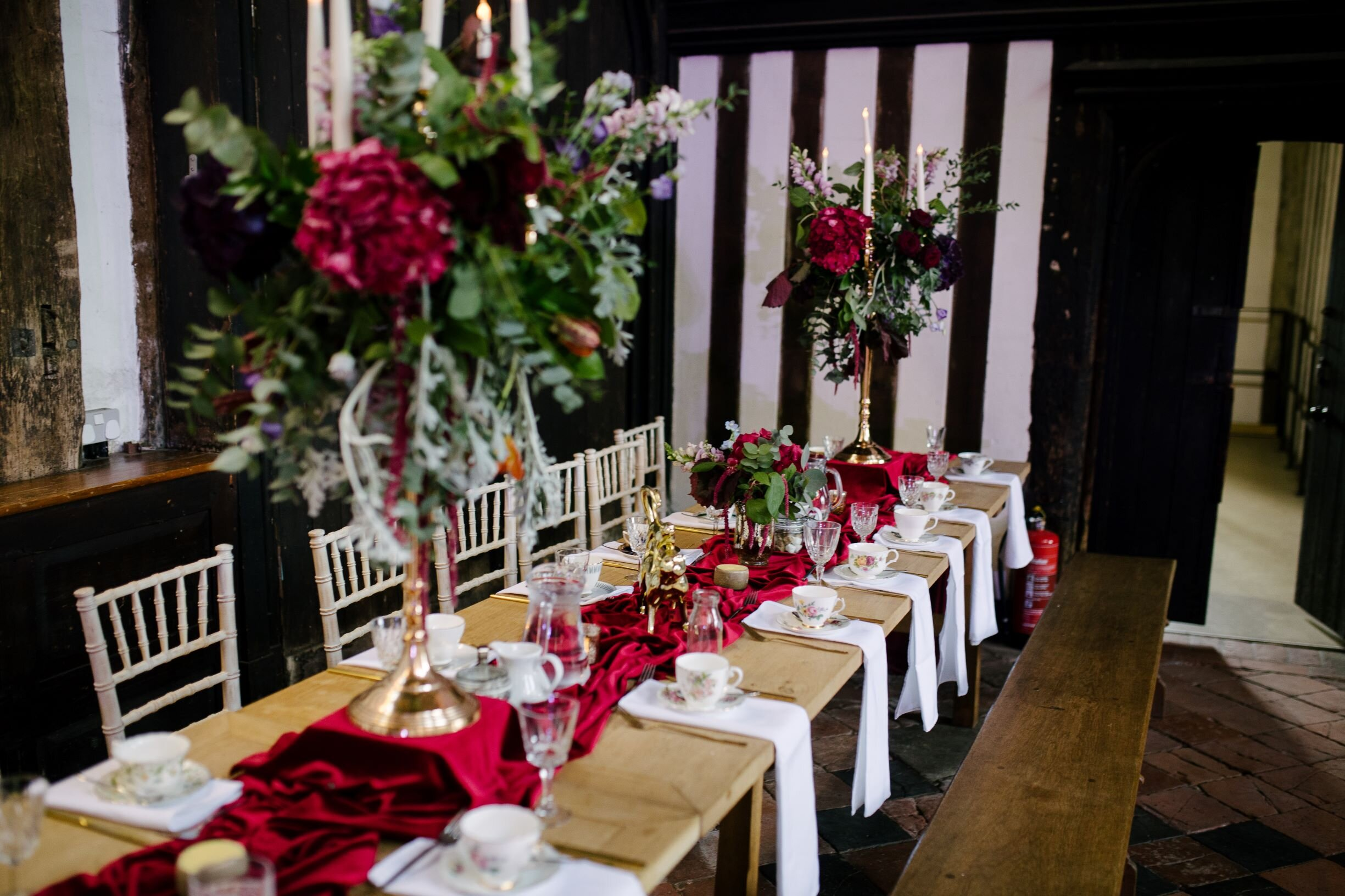 Gold Candelabras with floral decorations