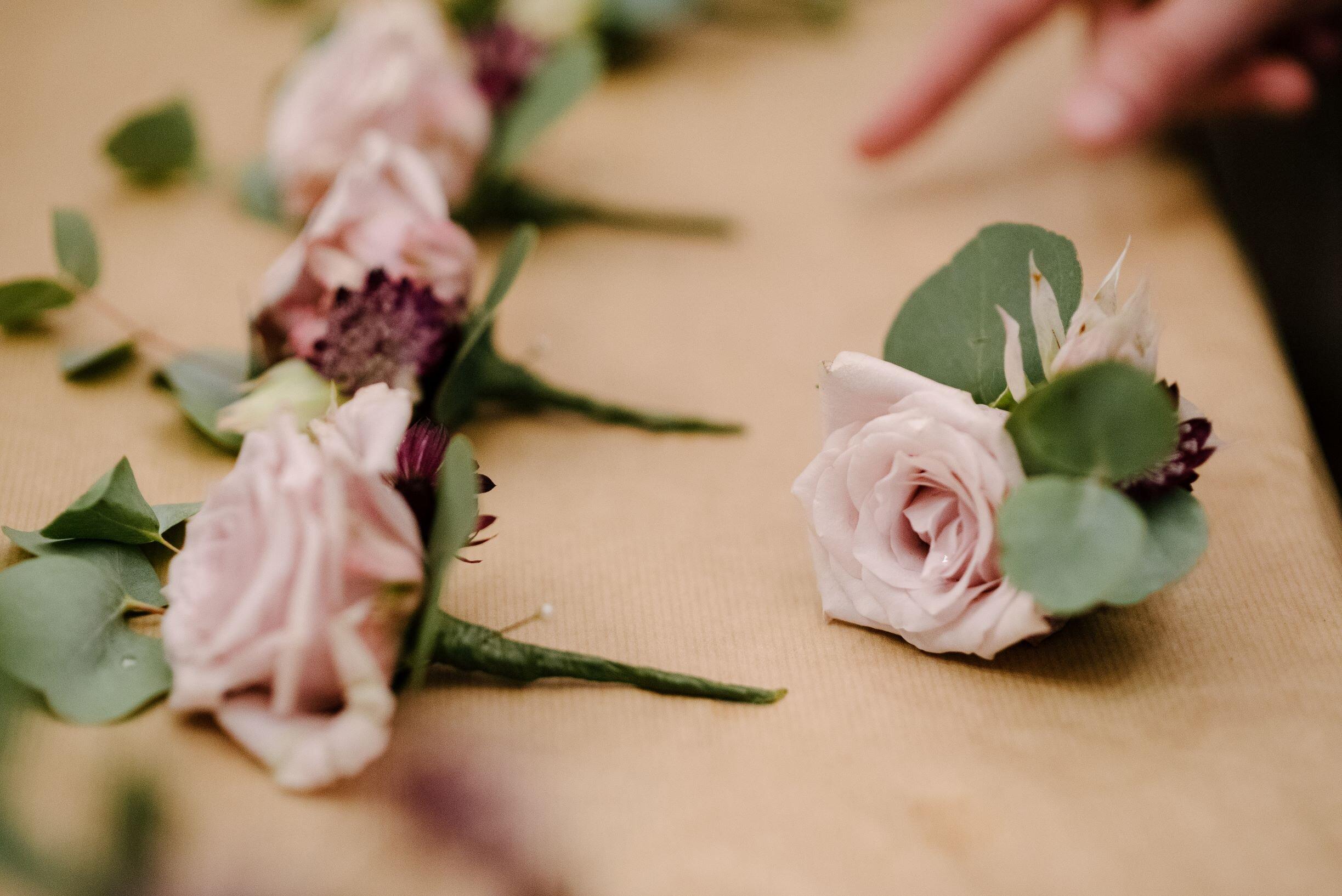 pale pink buttonhole