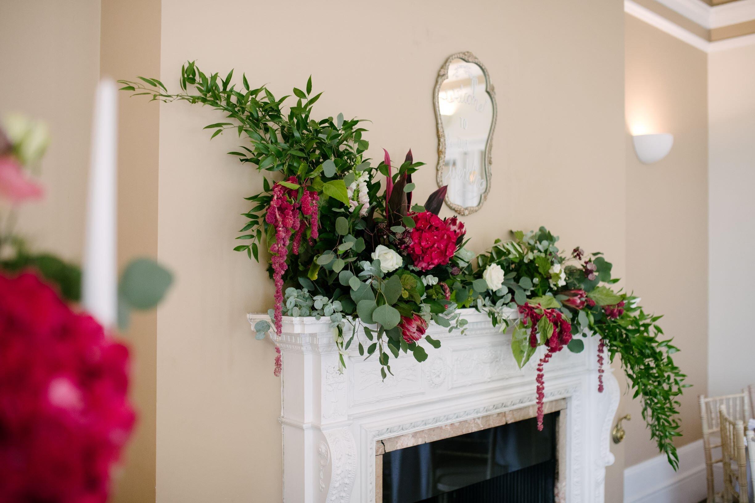 fireplace flower arrangement