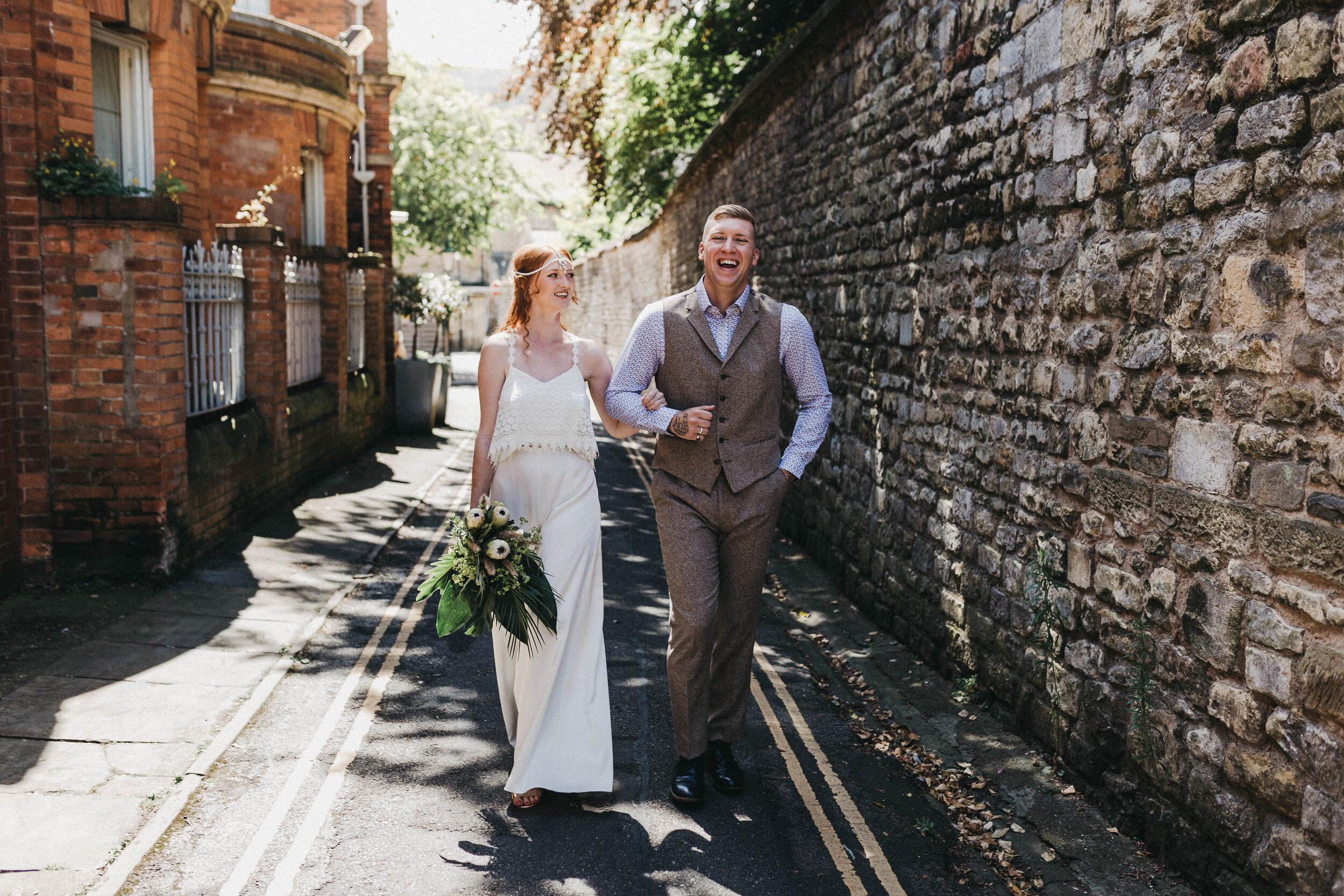 boho bride and groom tweed suit