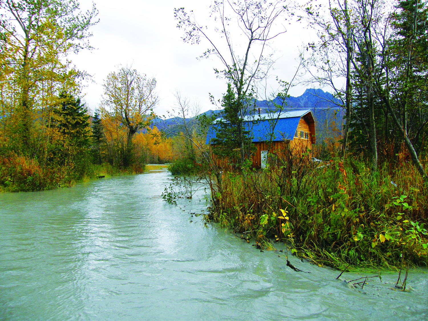 A home was flooded by the rising Matanuska River. Photo by J. Wake