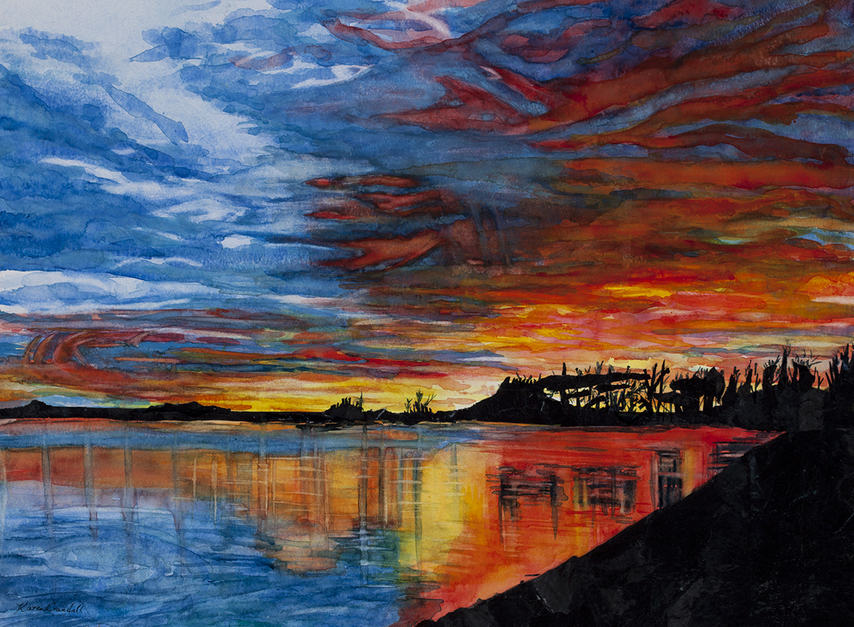 Sunset at Old Glen - Watercolor Giclee