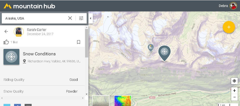 Screenshot of the Mountain Hub app.