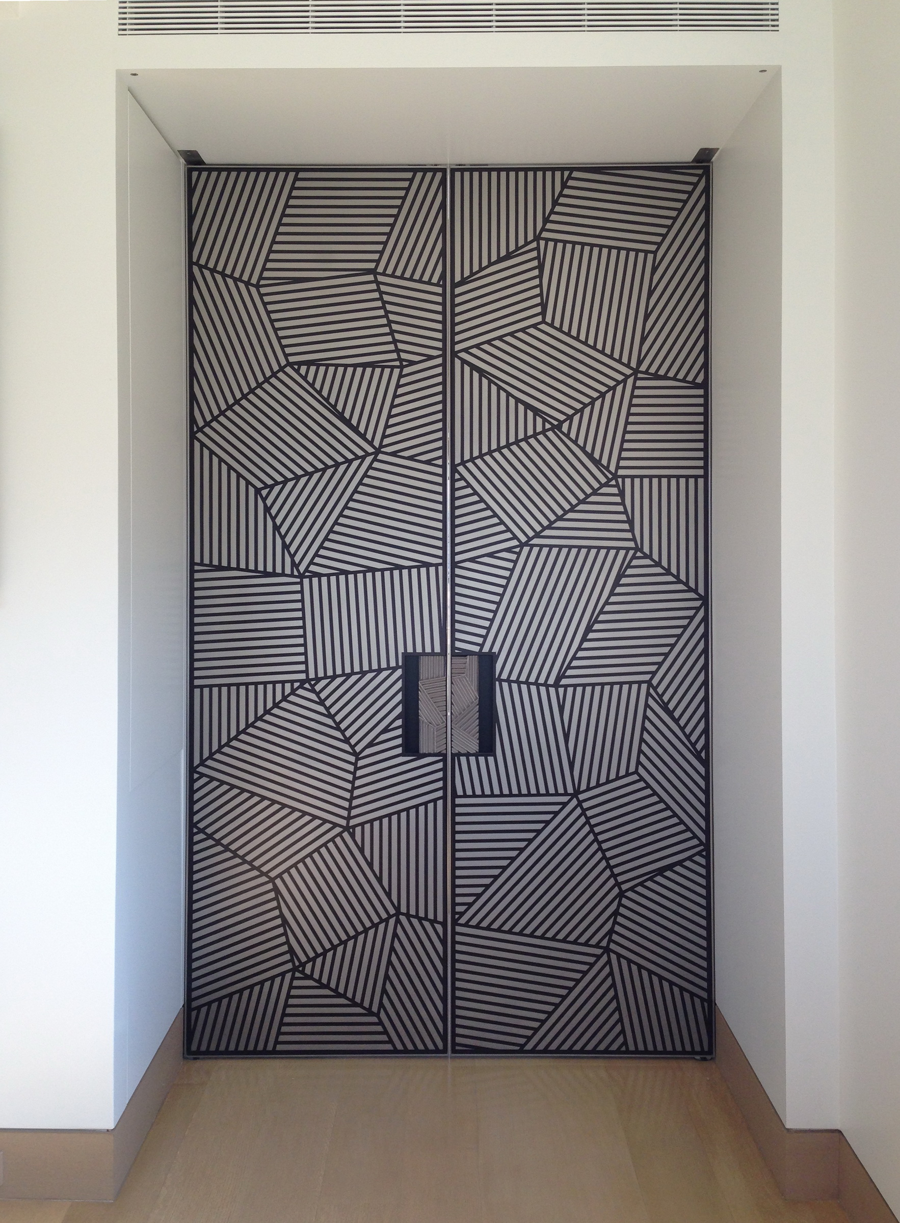Ebonized French Doors with Nickle Silver Inlay