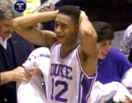 """Duke's Thomas Hill after """"The Shot"""" in 1992"""