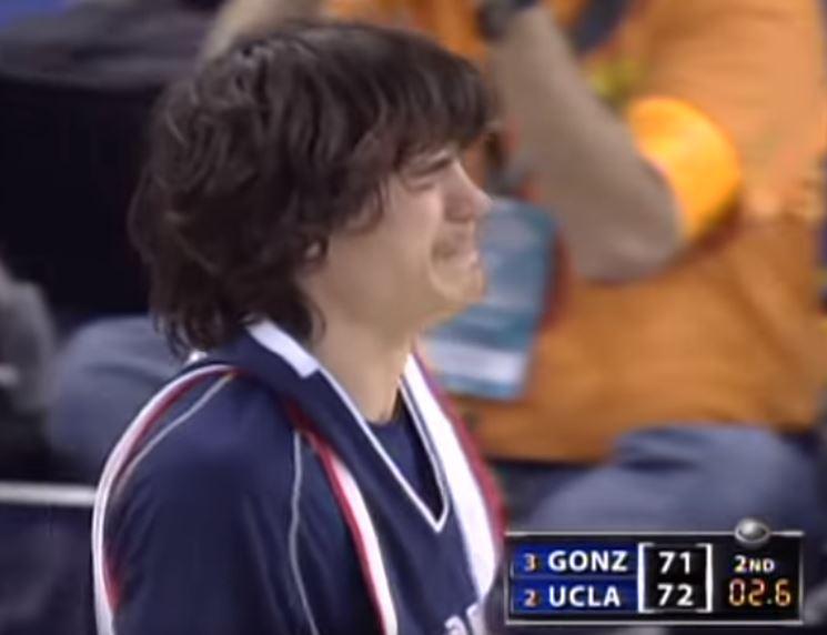 Gonzaga's Adam Morrison after UCLA's insane comeback in 2006