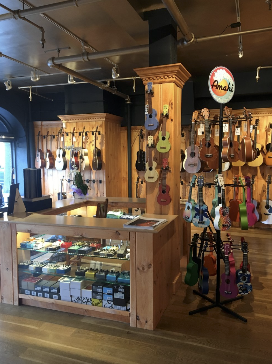 Rudy's Music counter with merchandise