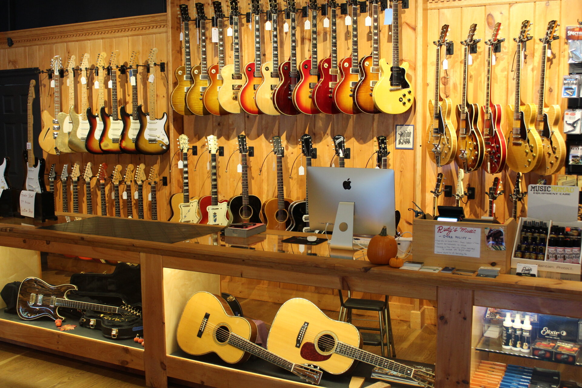 guitars displayed at Rudy's Music