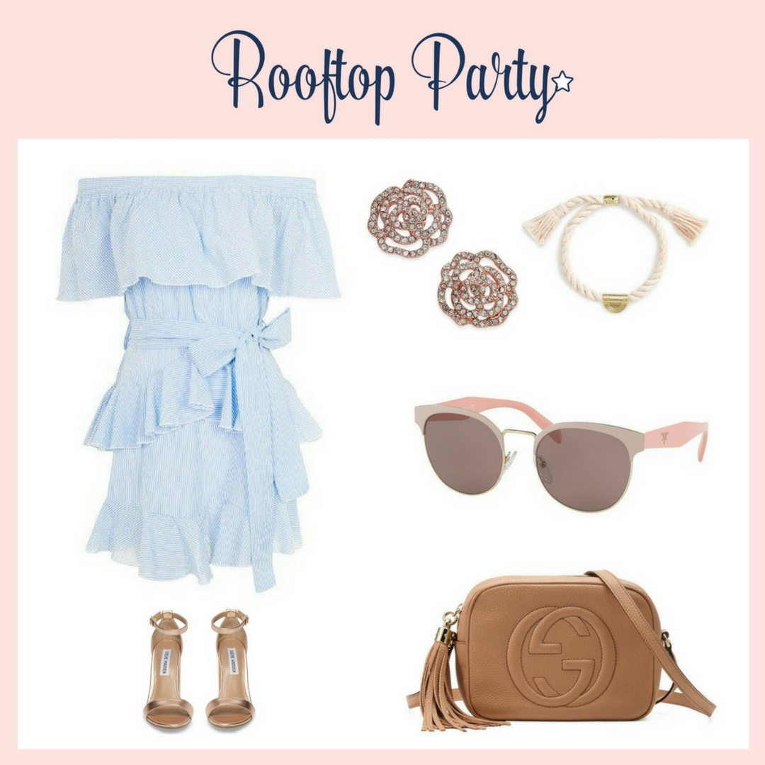 OUTFIT DETAILS  *> Topshop Off-the-Shoulder Ruffle Striped  Dress  *> Steve Madden Ankle-Strap Dress  Sandals in Blush Satin *> Kate Spade Rose Gold-Tone Pave Rose Stud  Earrings  *> Madewell Cord Tassel  Bracelet  *> Prada PR 61TS 54mm Gradient  Sunglasses in Beige/Pale Gold *> Gucci Soho Leather Disco  Bag  in Rose Beige Leather