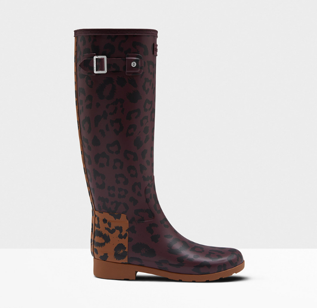 Hunter Women's Leopard Print Refined Slim Fit Tall Rain Boots- Oxblood:Thicket.png