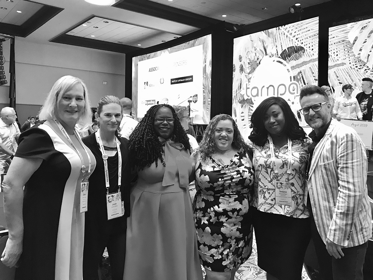 NGLCC 2019 International Business & Leadership Conference: Erica Fields, Brooks Grain and CIVITAS Board Chair; Josh Miller, IDEAS xLab and CIVITAS Board Member; Hannah Drake, Poet and IDEAS xLab; Marianne Zickuhr, CIVITAS Board Member; Tawana Bain, Derby Diversity & Business Summit and CIVITAS Advisor; Theo Edmonds, UofL Center for Creative Placehealing and CIVITAS Board Vice-Chair.
