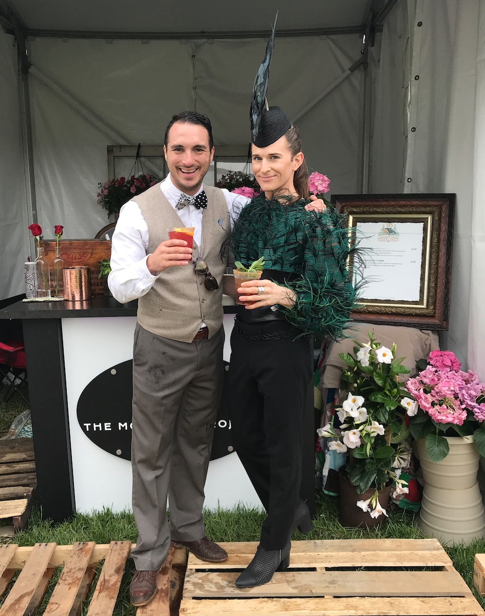 Jesse Hawkins of The Mocktail Project and Josh Miller of IDEAS xLab and the Derby Diversity & Business Summit enjoying a mocktail at Churchill Downs during the Kentucky Derby.