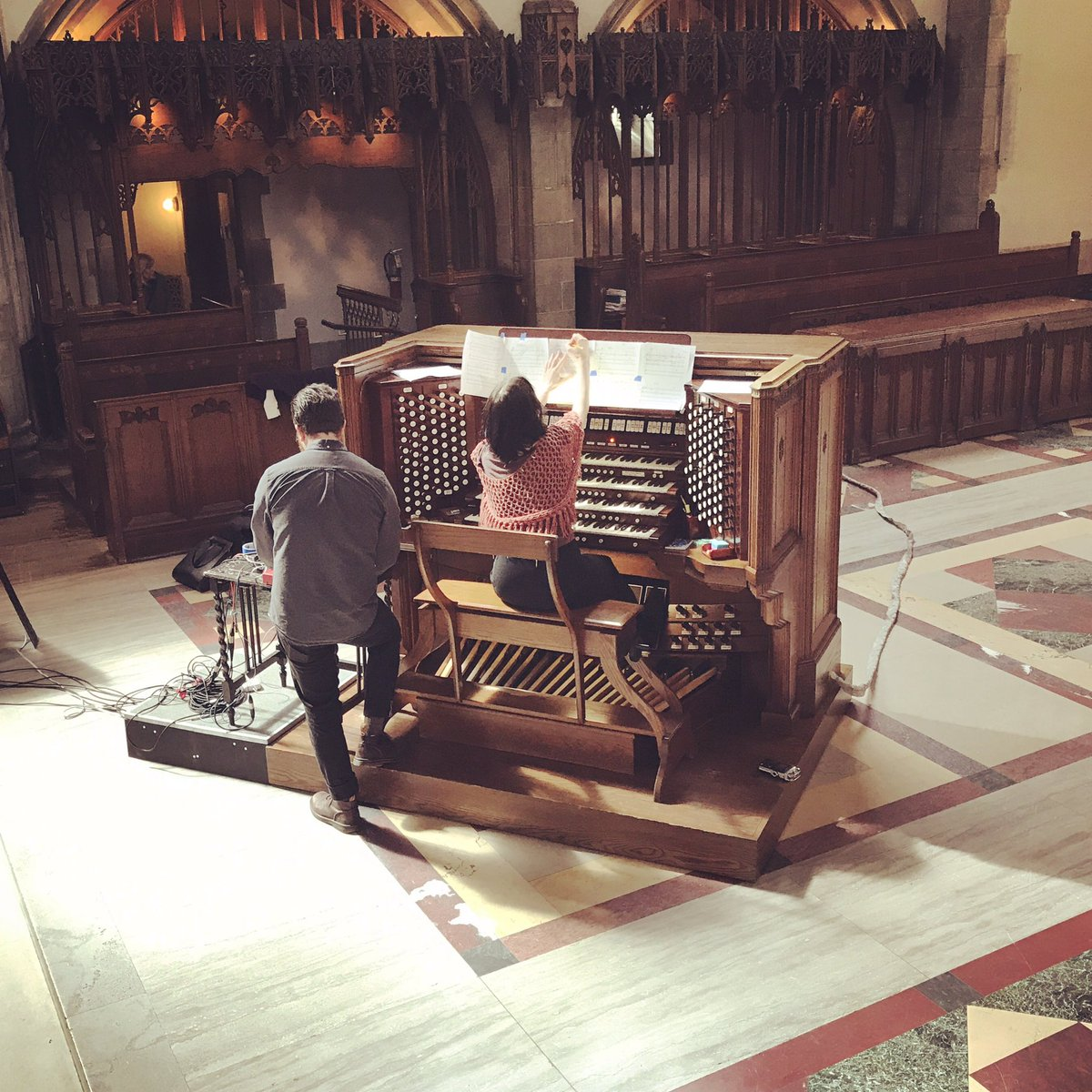 Setting up with Alex Inglesian for  132 Ranks  concert for Pipe Organ and multi-speaker array at Rockefeller Memorial Chapel, April 21st, 2017. Photo courtesy of Andrew Fenchel/LAMPO.