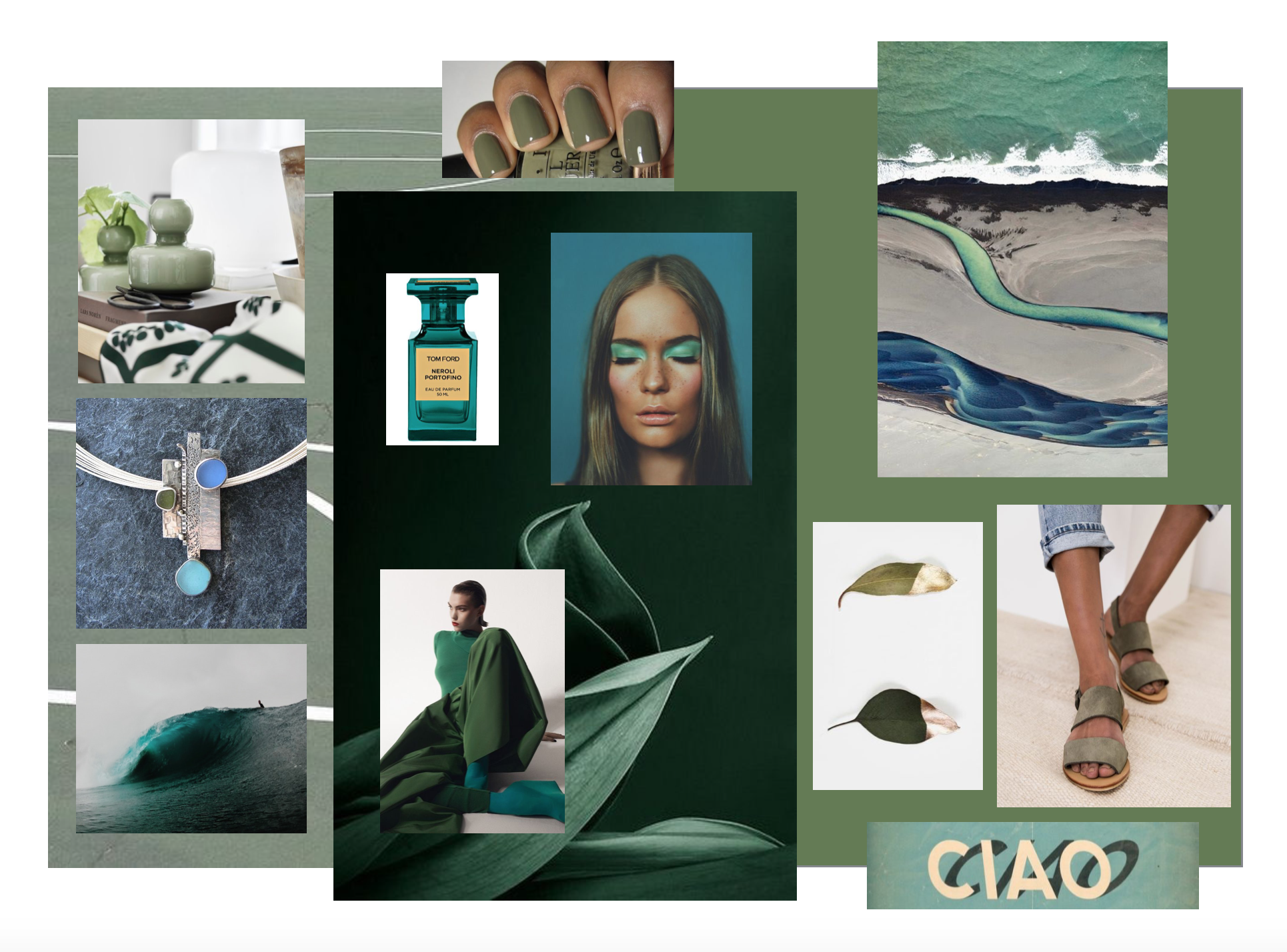 """INSPIRED BY    Left to right:  Marimekko Olive Flower Vase  with  Hortensie   fabric (white & dark green)  /OPI """"Uh oh, roll down the window"""" nail polish /' Iceland' photo by Victoria Rogotneva / Seaglass Jewelry by  Monica Branstrom  /  Tom Ford, Private Blend Neroli Portofino Eau de Parfum / Aqua Eyeshadow /  'We watch as a huge perfect wave passes us by' image by   Kollenda  / Olive wide leg pants and Aqua platform shoes / Gold dipped Green leaves. /  JUN Olive Suede Sandal by St. Agni /  'Ciao' by Anne-Sophie Tschiegg  / Tennis Courts / The colors, Olive and Aqua."""