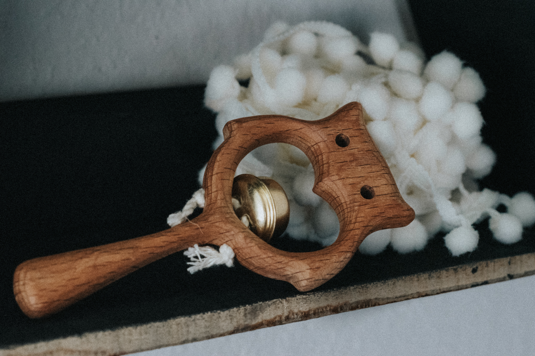 hand carved wooden rattle