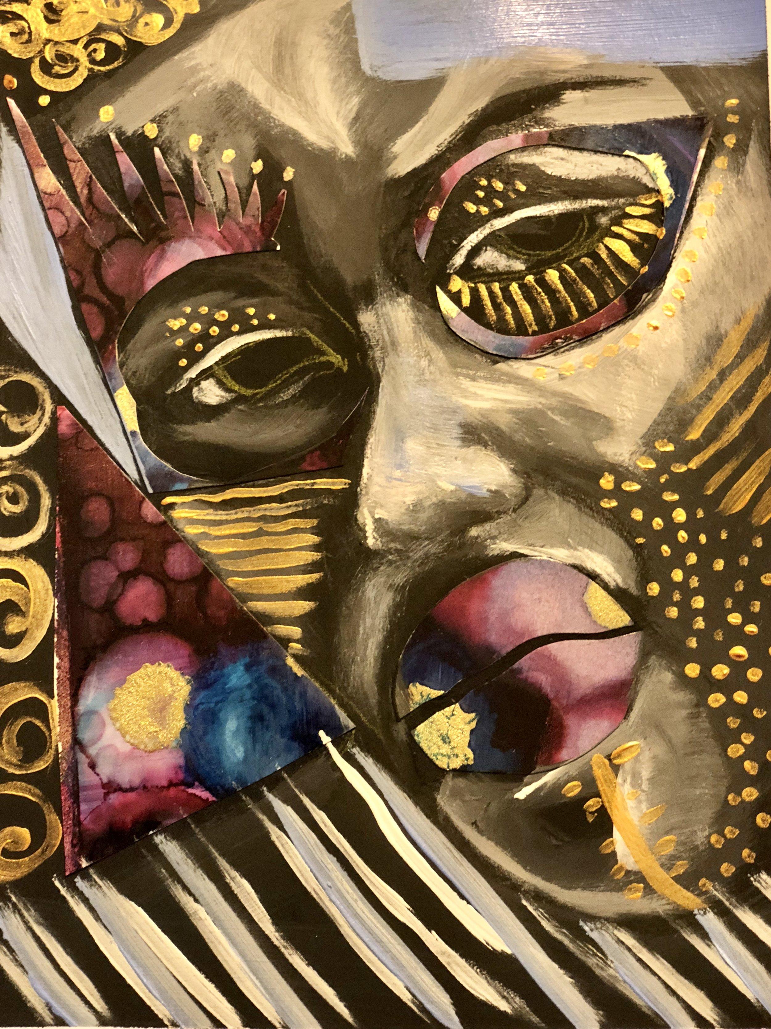Hombre   Acrylic, mixed media on paper  9.5 x 11   $200