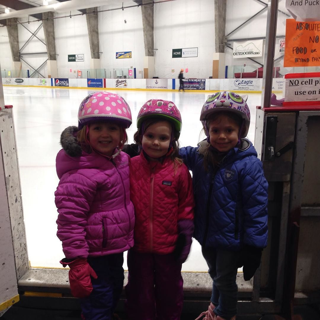 First night of ice skating lessons with her best buddies. #towntoyotacenter #kateonskates