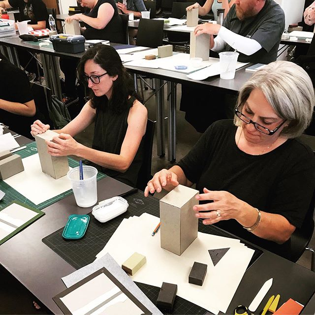 So proud of my bookbinding students! Last night wrapped up my summer teaching at the Book Arts Program. Grateful for the opportunities and getting to work with so many great folks. Going to miss my stellar group of students. Some serious skillz in this class⚡️📚⚡️ #bookbinding #workshop #handbound #bookarts
