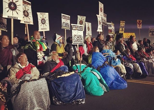 Our kūpuna (our elders) on the frontlines this morning atop Mauna Kea. Moved to tears. I love our people so much. Holding all of our kia'i in pule today. Praying for their safety and strength. Standing with them. Mahalo piha to our kūpuna. I know my mom's spirit is there on that frontline. So much love for Hawai'i. Teaching the world the true meaning of aloha. Photo cred: Mehana Kihoi #kukiaimauna #protectmaunakea #TMTstillshutdown #untiltheverylastalohaʻāina