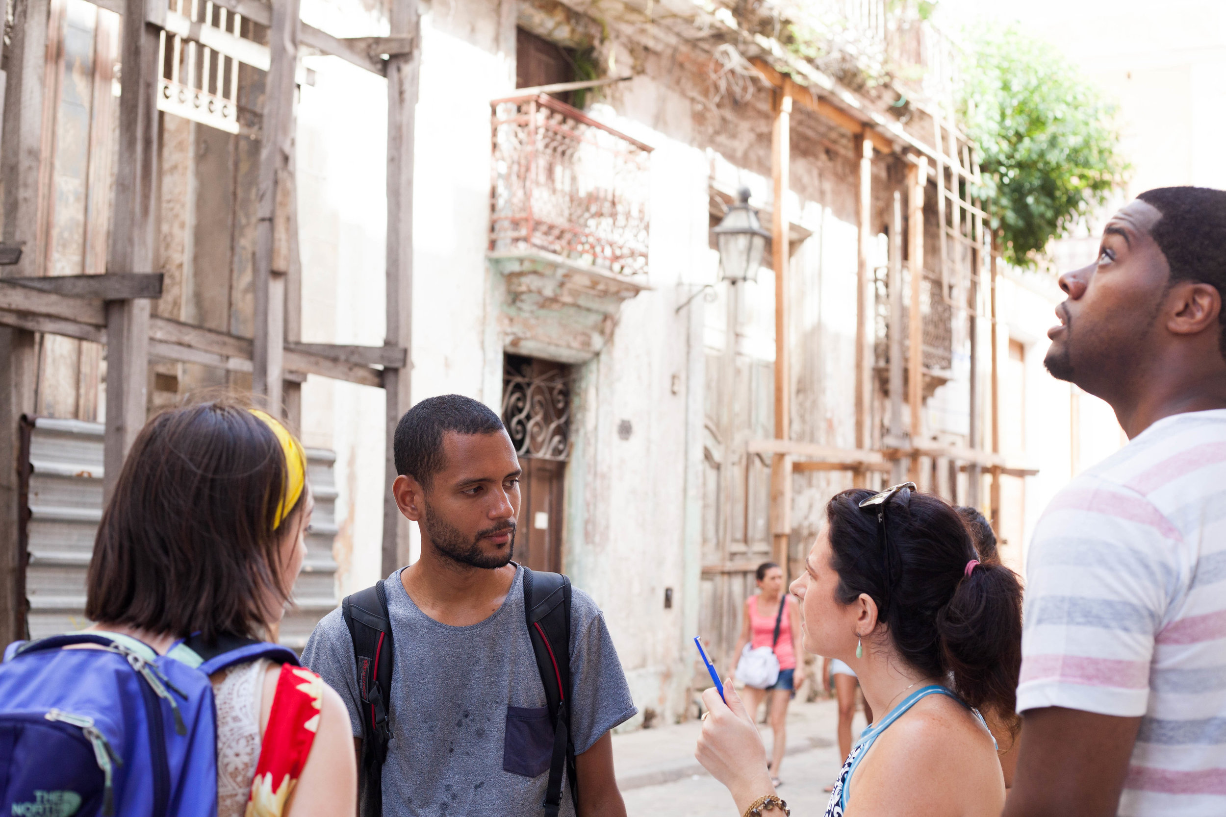 On a guided architectural walk around Old Havana. Learning about history, culture, and politics through architecture.